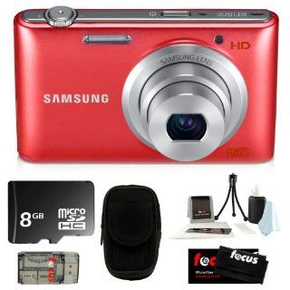 Samsung ST150F 16.2MP & F2.5 Lens with WI FI Ready Smart Digital Camera Red + 8GB MicroSD HC Memory Card + Camera Case + Accessory Kit  Camera & Photo
