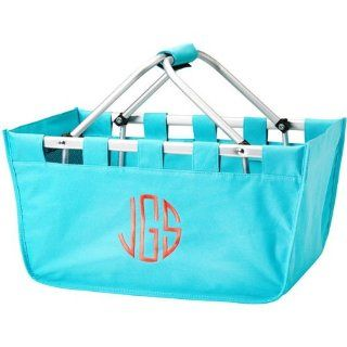 Personalized Folding Market Tote / Aqua Color / Canvas Construction / Collapsible Aluminum Frame and Handles / Roomy 18 in. x 11.5 in. x 9 in.