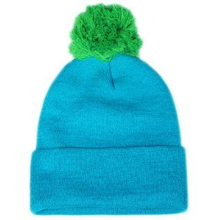 City Hunter Sk961 Neon 2 Tone Pom Beanie   Neon Blue: Everything Else