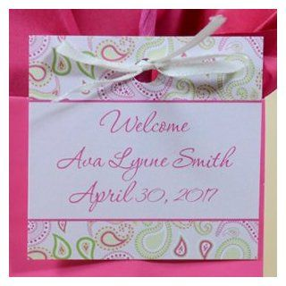 Pink Paisley Hang Tag Favors Personalized  All Purpose Labels