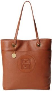 Tommy Hilfiger Logo Pebble Patch Tote,Cognac,One Size Clothing