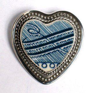 Vintage Blue Bird Broken China Jewelry Sterling Brooch Pin Pendant Jewelry