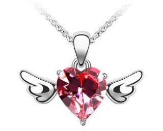 Charm Jewelry Swarovski Crystal Element 18k Gold Plated Rose Pink Guardian Angel Necklace Z#988 Zg4def0e: Strand Necklaces: Jewelry