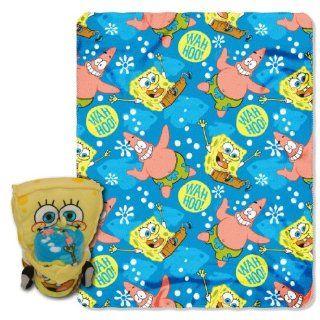Nickelodeon, Spongebob Squarepants, Line up Bob 46 Inch by 60 Inch Micro Raschel Blanket by The Northwest Company   Bed Blankets