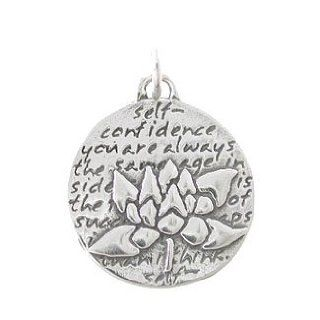 Small Round Reversible Lotus Flower Pendant with Words of Inspiration in Sterling Silver, #8228: Jewelry