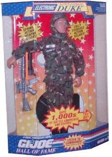 G.I. JOE Year 1992 Hall of Fame Fully Poseable 12 Inch Tall Soldier Action Figure   Electronic Battle Comman Duke with 1000 Battle Commands and Sounds. US Army Camouflage Fatigues, Dog Tags, Helmet, Spring Action Assault Rifle with Bullet, Boots, 4 Grenade
