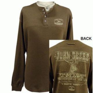 John Deere Double Neck News Ad Henley Shirt Brown (Medium) at  Men�s Clothing store: Men S Brown Thermal John Deere Shirts