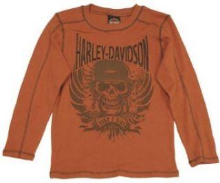 Harley Davidson Boy's Long Sleeve Thermal Embroidered Burnt Orange Tee. 3291356 Clothing