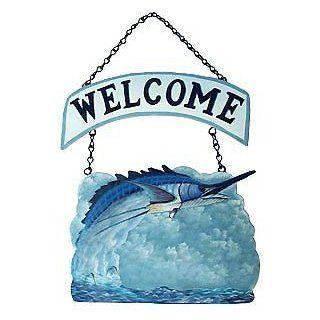 Hand Painted Metal Sailfish Chain Welcome Sign   Nautical Fish Decor