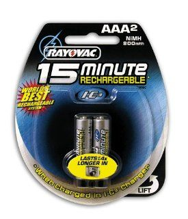 Rayovac I C3 15 Minute Rechargeable NiMH Batteries, AAA Size, 2 Count Packages (Pack of 3): Health & Personal Care