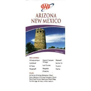 AAA Arizona & New Mexico Including Albuquerque, Carlsbad, El Paso, Flagstaff, Grand Canyon Village, Las Cruces, Nogales, Phoenix, Roswell, Santa Fe, Tucson, Yuma Plus Arizona & New Mexico Driving Distance Chart, Petrified Forest National Park Map