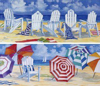 Front Row Seats & Umbrella Beach Canvas Art   Set of 2   Prints