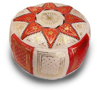 Stuffed Marrakech Leather Pouf, Orange   Ottomans