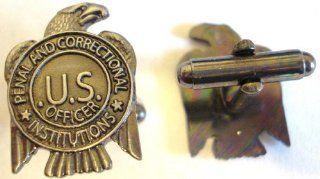 US Department of Corrections Prison Guard Mini Badge Cuff Links Cufflinks Set