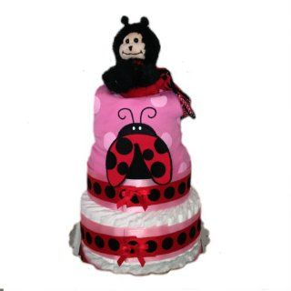 3 Tier   100 Diaper Baby Shower Diaper Cake Centerpiece (Ladybug Love) : Baby Diapering Gift Sets : Baby
