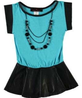 Almost Famous Big Girls Peplum Faux Leather Shirt With Necklace (14/16, Jade/Black) Clothing