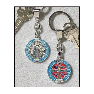"""Painted St. Benedict Keychain, Silver Plate. In Addition to the Unconditional Indulgence, a Partial Indulgence Is Given to Anyone Who Will """"Wear, Kiss or Hold the Medal Between the Hands with Veneration"""". Over the Years, Many Miracles Have Been R"""