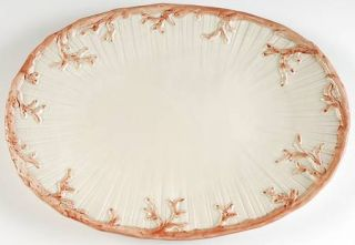 Fitz & Floyd Oceana (Pink Coral Edge) 18 Oval Serving Platter, Fine China Dinne