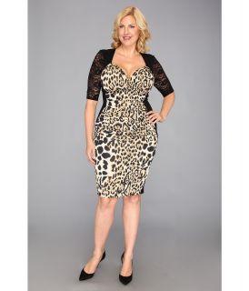 Kiyonna Stop and Stare Ruched Dress Womens Dress (Animal Print)