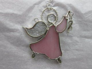 Stained Glass Guardian Angel Holding Breast Cancer Awareness Ribbon   Sun Catcher