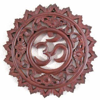 "OM (Aum) Symbol & Floral Design Wall Ornament/Sculpture/Plaque, Brown, Approx. 12""W x 12""H x 3/4""D   Decorative Plaques"
