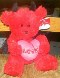 """APPROXIMATELY 9"""" PLUSH STUFFED RED DEVIL TEDDY BEAR Toys & Games"""