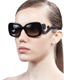 Prada Curved Temple Sunglasses, Black
