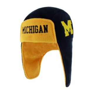 47 Brand Michigan Wolverines Youth Navy Blue Home Game Fleece Trooper Knit Hat   FansEdge