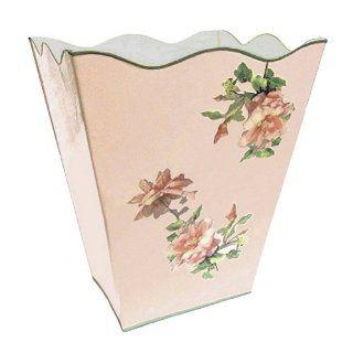 Vintage Pink Roses Wastebasket, Trash Can, Waste Can, Trash Bin ~ E16 Shabby Chic Enamel Trash Can with Romantic Antique Roses   Bath Waste Bins