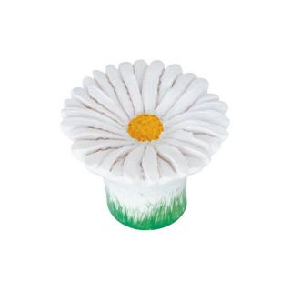 Siro Designs 1 1/2 in White Daisy Flowers Novelty Cabinet Knob