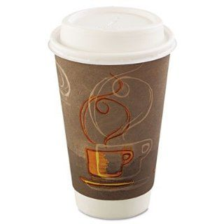 Dixie Insulair Eco Smart Insulated Paper Cups & Lids  Hot/Cold   24 cups 16oz (473 ml)   Contains 12% Post   comsumer recycled fiber. Built   in sleeve, keeps drinks hot/cold longer, sturdy triple wall cup, drink through dome lid. Kitchen & Dinin