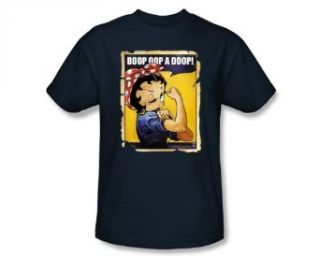 Betty Boop Rosie The Riveter Poster Retro Cartoon T Shirt Tee: Clothing