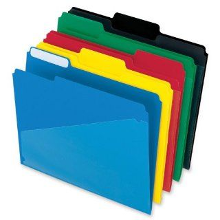 Pendaflex 00515 Pendaflex Hot Pocket Poly File Folders, 1/3 Cut, Top Tab, Assorted Colors, 25 Per Box (00515) : Colored File Folders : Office Products