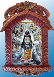 Lord Shiva Doing Meditation in Himalayas Poster Painting in Wood Craft Hand Made Jharokha   Prints