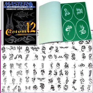 Master Airbrush� Brand Airbrush Tattoo Stencils Set Book #12 Reuseable Tattoo Template Set, Book Contains 100 Unique Stencil Designs, All Patterns Come on High Quality Vinyl Sheets with a Self Adhesive Backing.