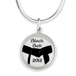 Martial Arts Black Belt Silver Round Necklace by Admin_CP4324257