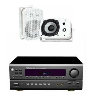 """Pyle Stereo Receiver Package with Waterproof Speakers for your Studio, Bar, Concert, Performance, Home, etc.   PT588AB 5.1 Channel Home Receiver with AM/FM, HDMI and Bluetooth   PDWR40W 5.25"""" Indoor/Outdoor Waterproof Speakers (White) (Pair)   Speaker"""
