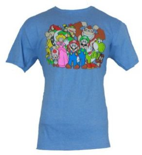 Super Mario Bros Mens T Shirt   Giant Cast Pic Even the Bad Guys Heather Blue Clothing