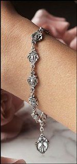 Womens Saints Bracelet, Pewter Rose Rosary Bracelet. Pewter Finish 9 Mm Rose Bead. Our Rose Petal Rosary Bracelet Is a Great Way to Encourage Catholics to Pray the Rosary Daily. Every Pewter Finish Rosary Bead Is Shaped Like a Rosebud   A Traditional Remin