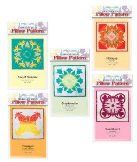 """Bundle of Five Hawaiian Quilt Pillow Patterns. This Packet of Five Beautiful Quilting Patterns Includes Patterns for 18"""" By 18"""" Finished Size Pillows. The Patterns Contained in This Bundle Are As Follows: Bird of Paradise, Stephanotis, Hibiscus,"""