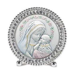 Silver Madonna and Child, St. Mary & Baby Jesus Standing Frames. The Height of Elegance, These Exquisite Frames Set the Standard for Gift Giving Sterling Silver Images From Salerni of Italy Are Framed in Beautiful Frames That Are Embellished with Hand