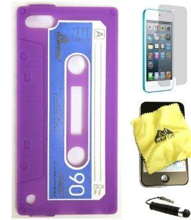 BUKIT CELL Apple iPod Touch 5 5G 5th Generation Cassette Tape Silicone Case (PURPLE) + BUKIT CELL Trademark Lint Cleaning Cloth + Screen Protector + WirelessGeeks247 METALLIC Touch Screen STYLUS PEN with Anti Dust Plug   Players & Accessories