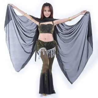Hotportgift Chiffon Shawl Veil Scarf multi use 244x122cm Belly Dance Costumes (Black): Clothing