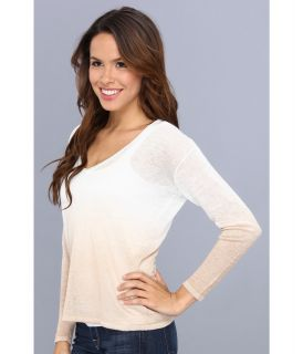 525 america V Neck Dip Dye Top Bleach White Combo