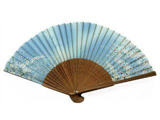 Japanese Design Silk Handheld Folding Fan, Sky Blue w/Fine Pink Flowers and Green Vines HF 228   Ceiling Fan Pull Chain Ornaments
