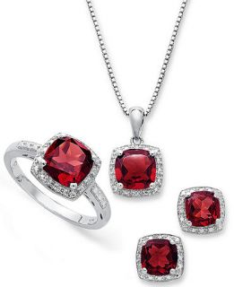 Sterling Silver Jewelry Set, Garnet (4 3/4 ct. t.w.) and Diamond Accent Necklace, Earrings and Ring Set   Jewelry & Watches