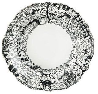 222 Fifth Wiccan Lace Dinner Plates, Set of 4, Black White Halloween Cat Bat Witch: Kitchen & Dining