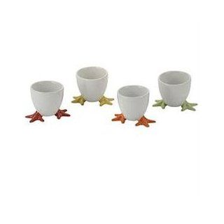 Set of 4 Yellow Egg Cups with Feet Egg Poachers Kitchen & Dining