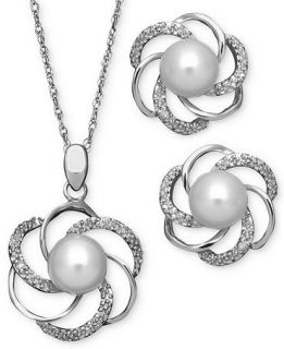 Sterling Silver Jewelry Set, Cultured Freshwater Pearl and Diamond Accent Swirl Pendant and Earrings   Jewelry & Watches