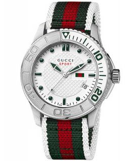 Gucci Watch, Mens Swiss Sport XL White Green and Red Nylon Strap 44mm YA126231   Watches   Jewelry & Watches